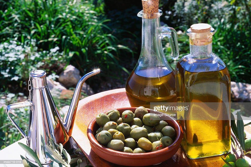 Fresh olives on table : Stock Photo