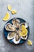 Fresh opened oysters