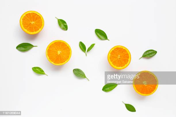 fresh orange citrus fruit with leaves