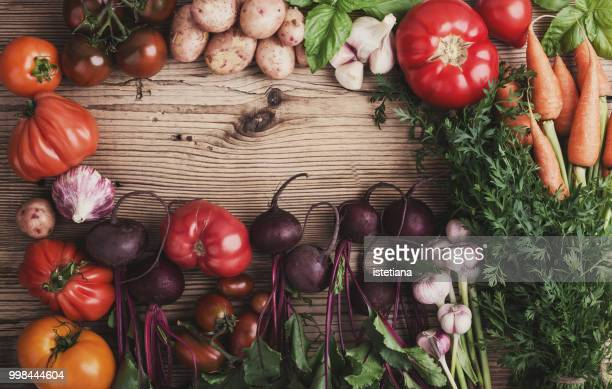 fresh organic colorful autumnal vegetables - harvest table stock pictures, royalty-free photos & images