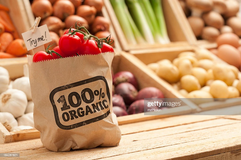 Fresh organic fruit and vegetables : Stock Photo