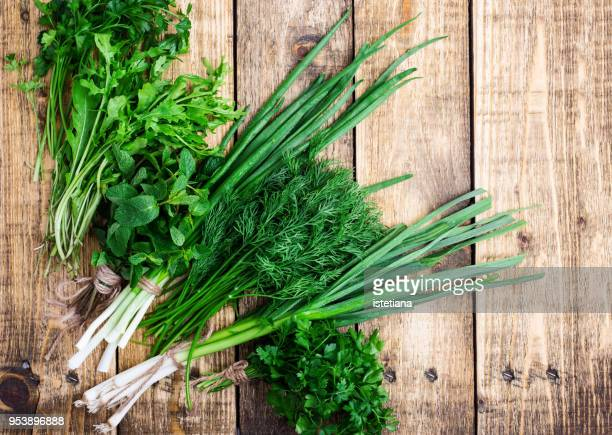 fresh organic green leafy vegetables - leaf vegetable stock pictures, royalty-free photos & images