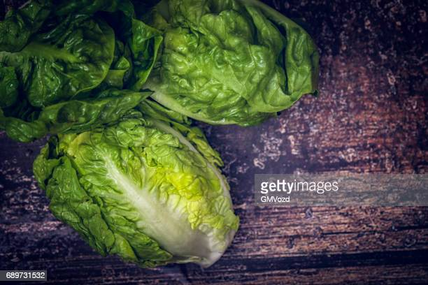 fresh organic green salad on rustic background - green salad stock pictures, royalty-free photos & images