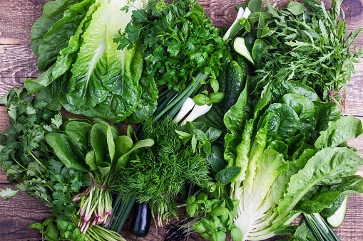 Fresh organic homegrown herbs and leaf vegetables background - gettyimageskorea