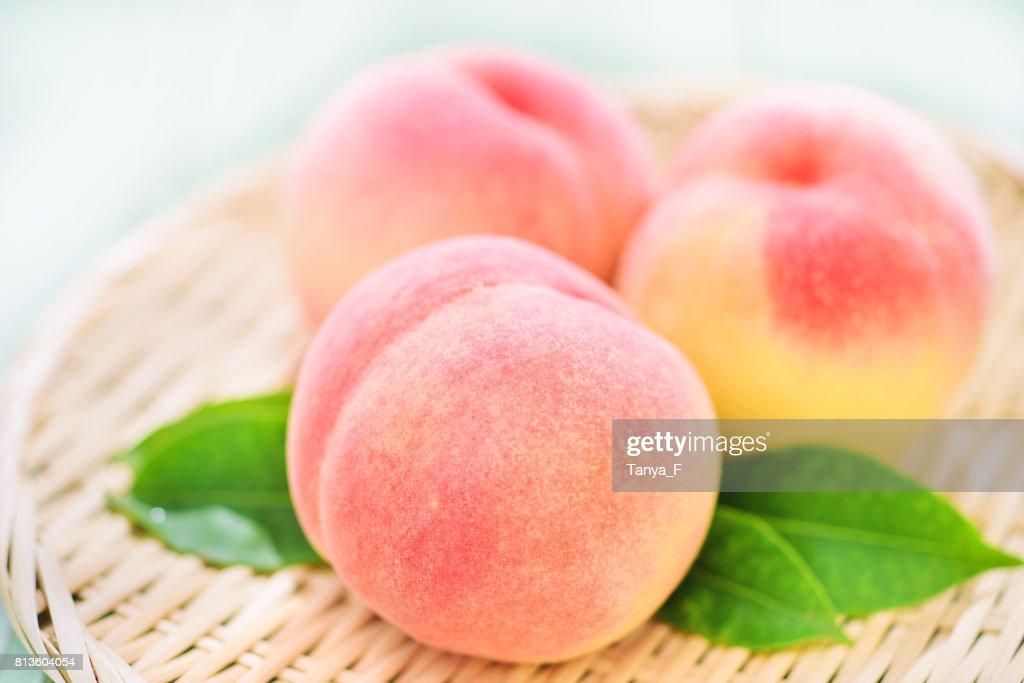 Fresh Organic Peaches Close Up : Stock Photo