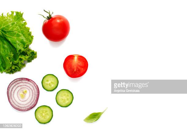 fresh organic vegetables on white background - slice stock pictures, royalty-free photos & images