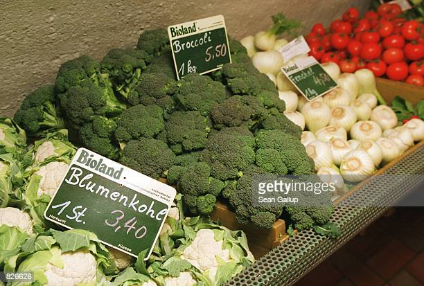 Fresh, organically-grown vegetables await customers at an organic food store March 1, 2001 in Arnbruck, Germany. Organic farmers and retailers across...
