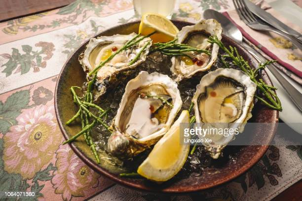 fresh oysters with asparagus and lemon served on a plate, porto, portugal - porto portugal stock pictures, royalty-free photos & images