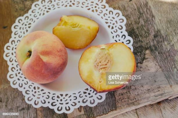Fresh peaches on a plate