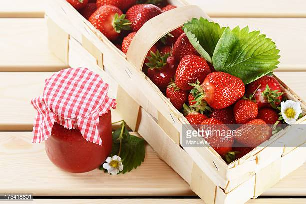 Fresh picked strawberries and jam
