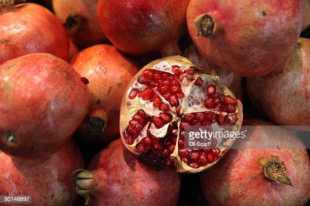 Fresh pomegranates are displayed at the World Fruit and Vegetable Show in the ExCeL exhibition centre on October 21 2009 in London England The trade...