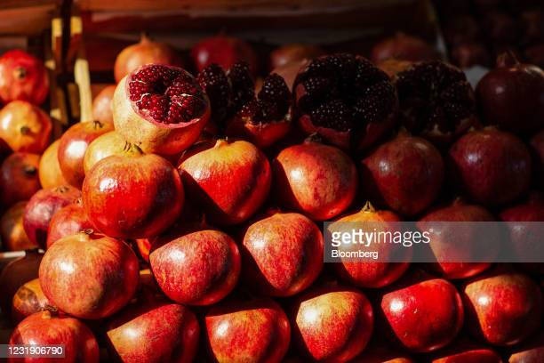 Fresh pomegranates on display inside Danilovsky market in Moscow, Russia, on Wednesday, March 24, 2021.In Russia, food prices in particular have...