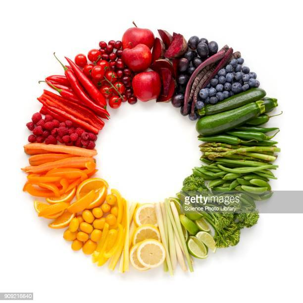 fresh produce in a circle - rainbow stock pictures, royalty-free photos & images