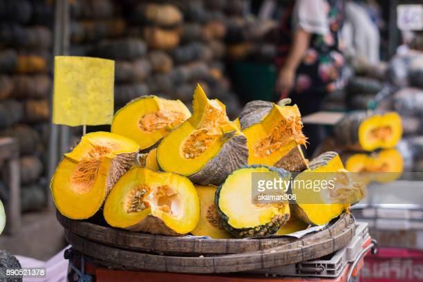 Fresh pumpkin in fresh market  in thailand