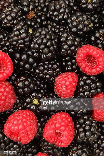 Fresh raspberries (rubus idaeus) and blackberries full frame