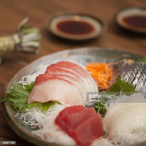 Fresh raw fish plate