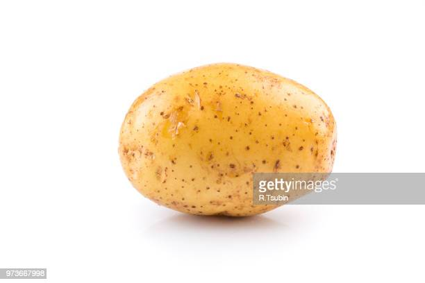 fresh raw potato on white background - rauwe aardappel stockfoto's en -beelden
