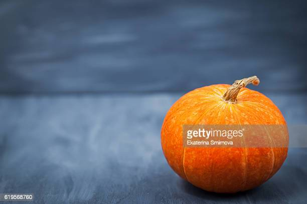 Fresh raw pumpkin on gray wooden background with copy space