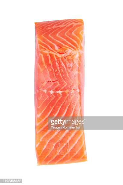 fresh raw salmon fillet isolated on white background - 鮭料理 ストックフォトと画像