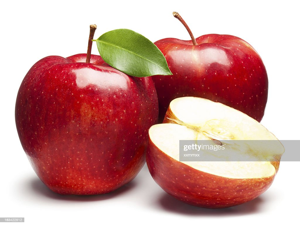 Fresh red apples on white background : Stock Photo