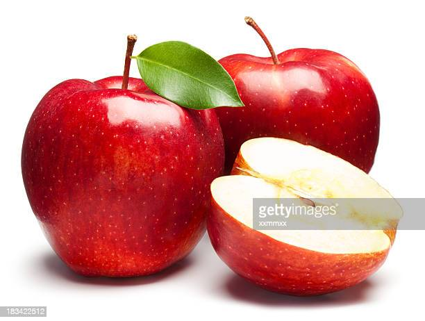 fresh red apples on white background - apple fruit stock photos and pictures