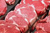 Fresh Ribeye Steaks at the Butcher Shop