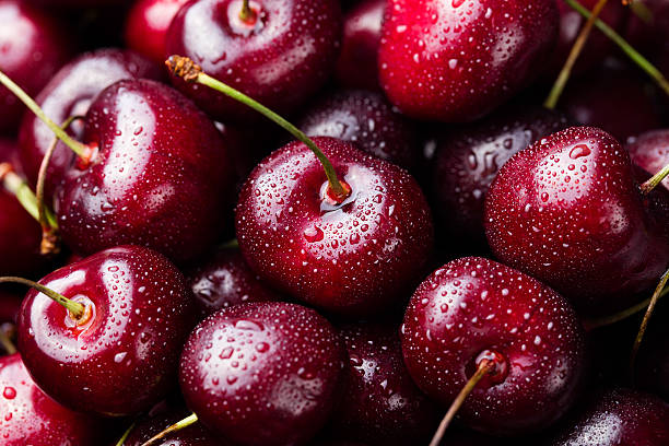 Fresh Ripe Black Cherries Background Top View Close Up Wall Art
