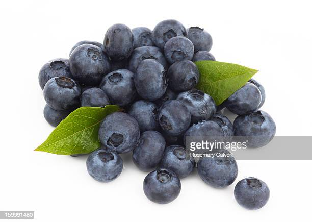 Fresh, ripe blueberries with leaves in pile.