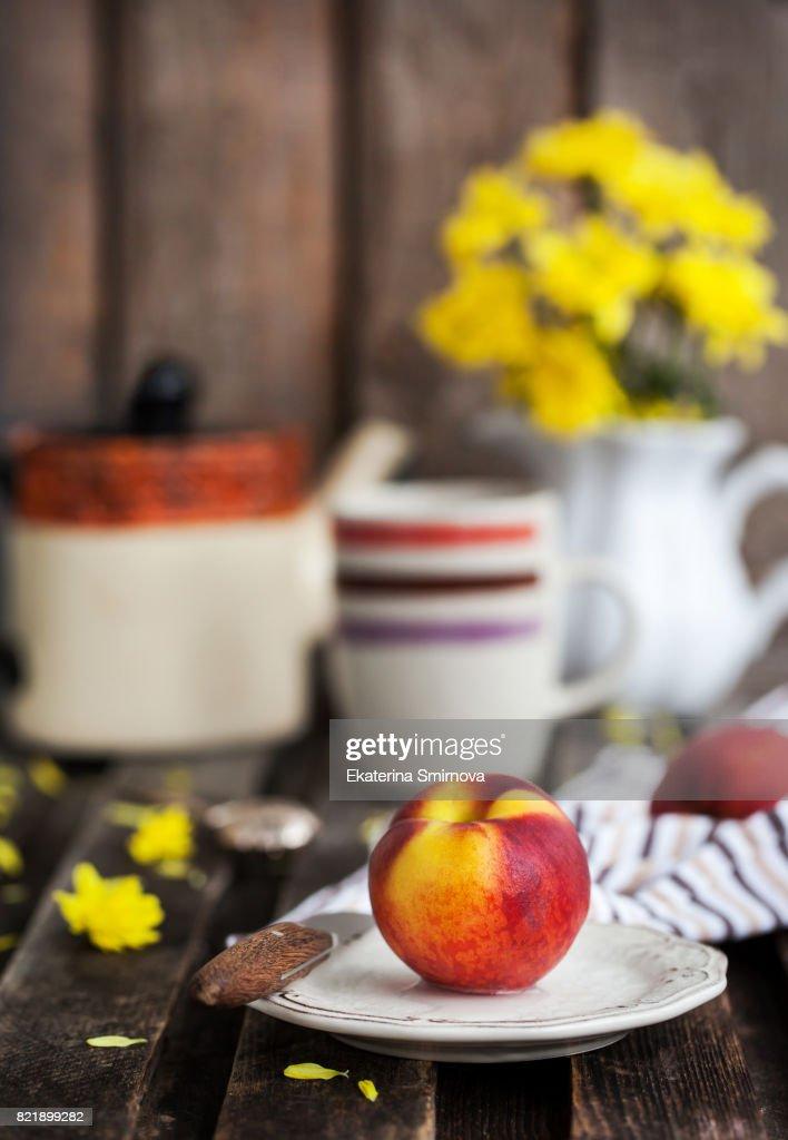 Fresh Ripe Peach On Plate Rustic Summer Background Stock Photo