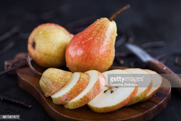 fresh ripe pears - pear stock pictures, royalty-free photos & images