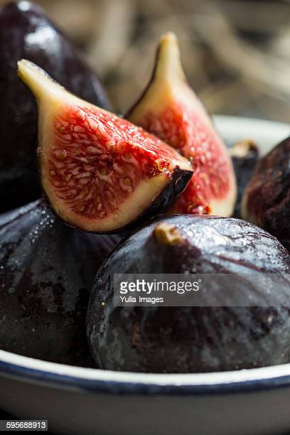 Fresh ripe quartered purple figs
