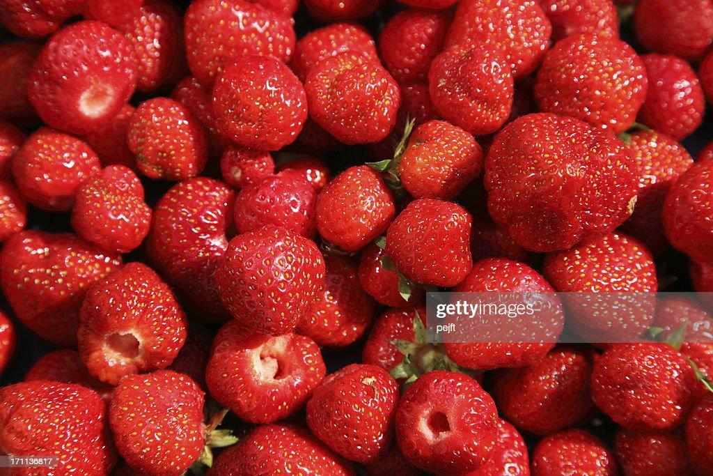 Fresh ripe strawberries newly picked : Stock Photo