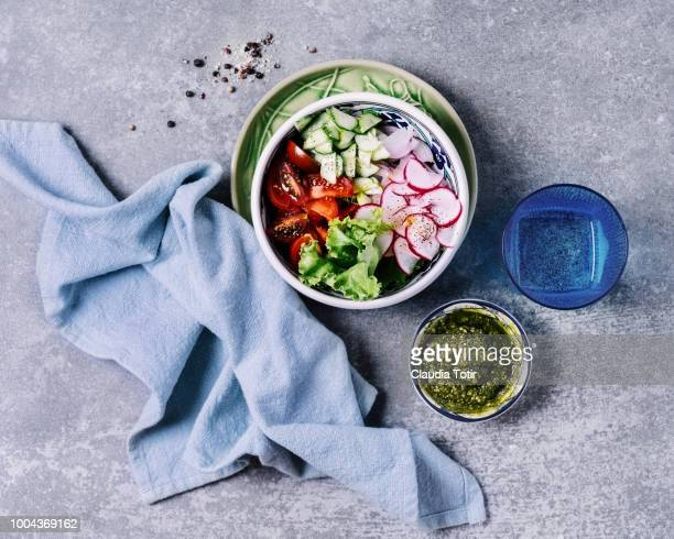 fresh salad - dish towel stock pictures, royalty-free photos & images
