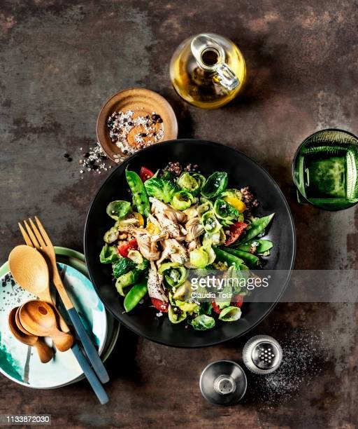 fresh salad with chicken breast on rusty background - salt and pepper shakers stock pictures, royalty-free photos & images