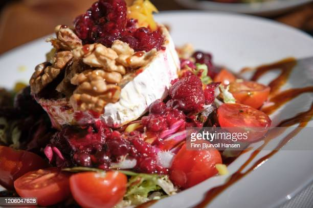 fresh salad with grilled goat cheese chevre - finn bjurvoll stock pictures, royalty-free photos & images