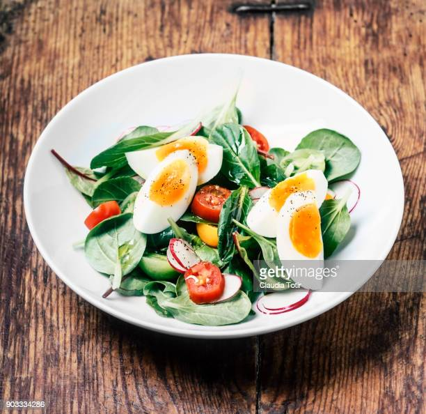 Fresh salad with hard boiled eggs