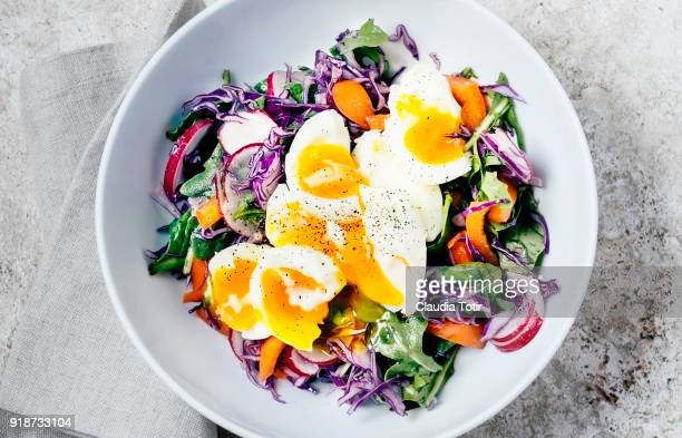 fresh salad with soft boiled eggs - hard boiled eggs stock pictures, royalty-free photos & images