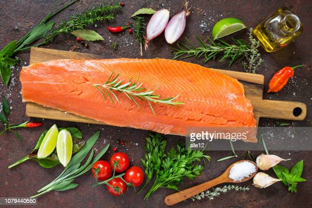 fresh salmon fillet - fillet stock pictures, royalty-free photos & images