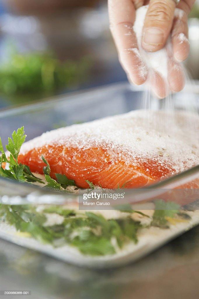 Fresh salmon in  baking glass : Foto de stock