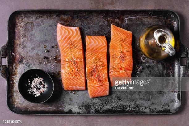fresh salmon - salmon seafood stock pictures, royalty-free photos & images