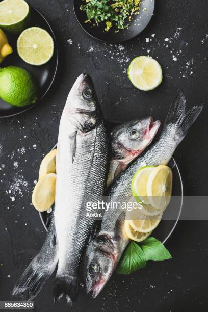 Fresh sea bass with lemon and herbs ready for cooking on dark background.