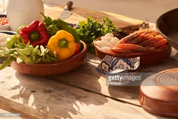fresh seafood and other ingredients - ingredient stock pictures, royalty-free photos & images