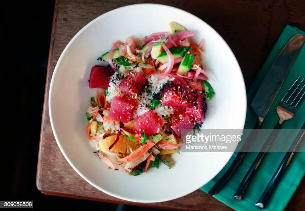 fresh seafood salad - raw food diet stock pictures, royalty-free photos & images