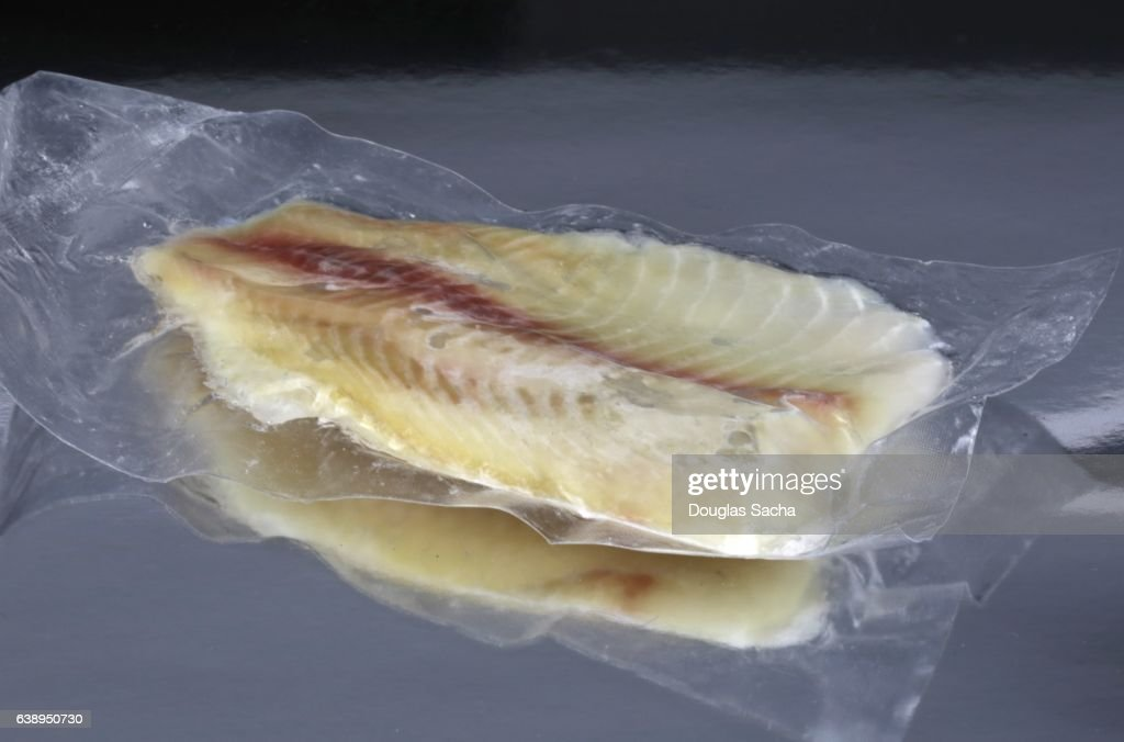 Fresh seafood sealed in a vacuum sealed container : Stock Photo