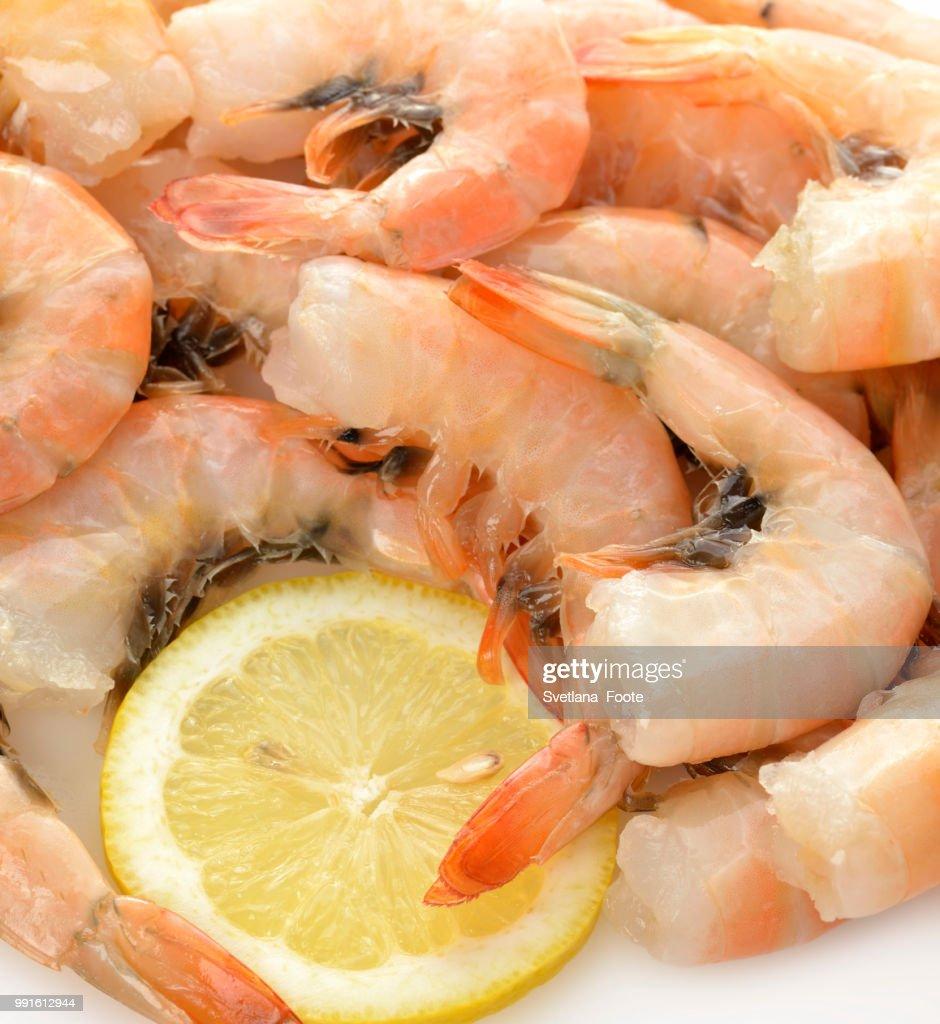Fresh Shrimps And Lemon : Stock Photo