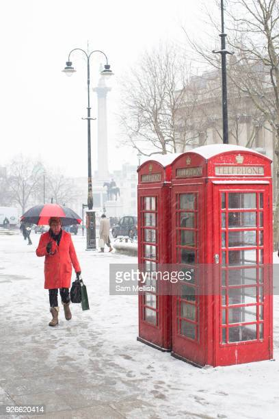 Fresh snow along Charring Cross Road following the arrival of Storm Emma which is set to bring further widespread disruption to many parts of the UK...