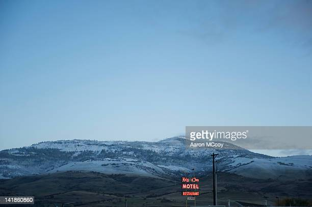 Fresh snow and frost covers hills in Ashland, Oregon, USA