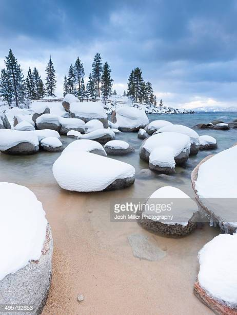 fresh snow and tahoe - lake tahoe stock pictures, royalty-free photos & images