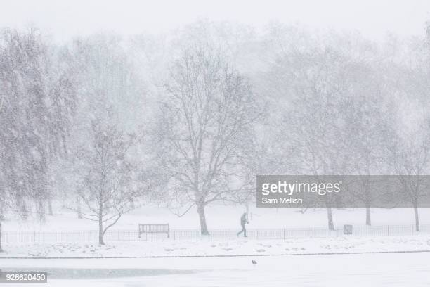 Fresh snow at St James's Park following the arrival of Storm Emma which is set to bring further widespread disruption to many parts of the UK on 2nd...
