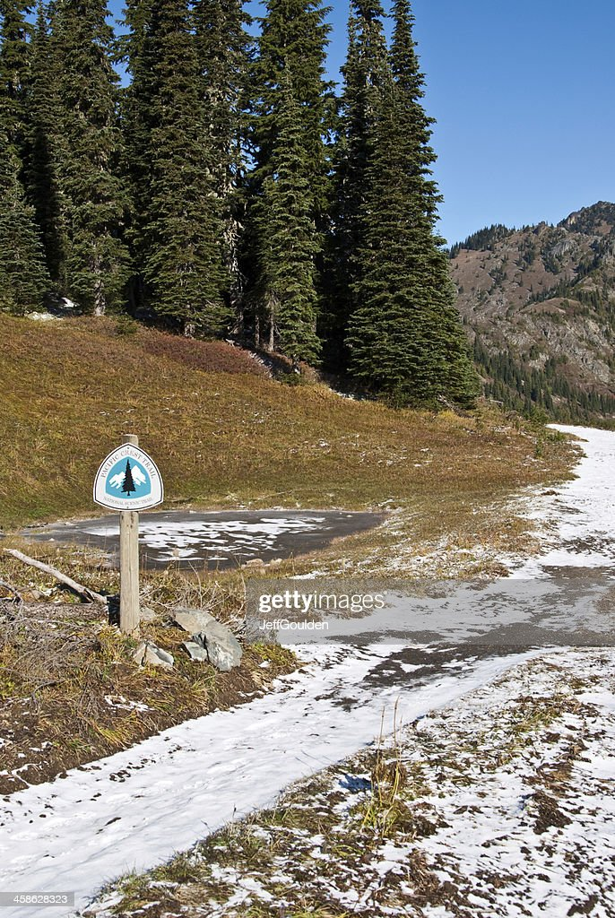 Fresh Snow Covers the Pacific Crest Trail in Washington State : Stock Photo